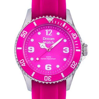 Pink steel watches < pink surface with silver nail > with silicone band