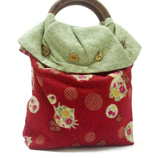 [Mother A] red makeup bag around fireworks yukata kimono mobile packet package