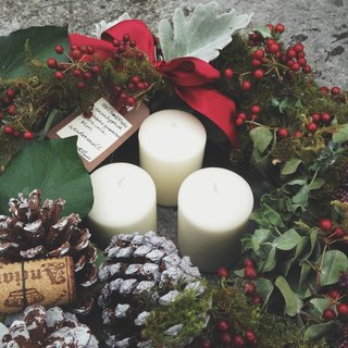 "2016 ""pre-order"" north 欧森林诺贝 loose natural style Christmas Circle + candle set (big) _ Customizable"