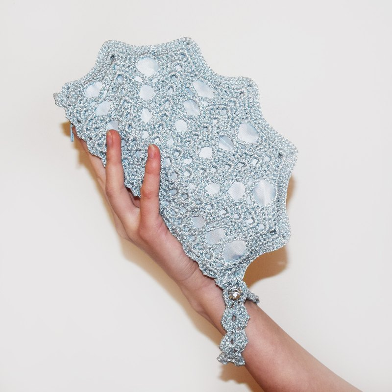Ice Blue Wristlet Bag Sparkling Blue Crochet Purse Small Formal