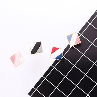Square color block hand made earrings