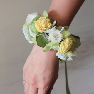 Wrist flower dried flowers and artificial flowers [series] Sun Rose (Green)