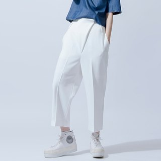White live pleated pants PANTS WITH FRONT DETAILS