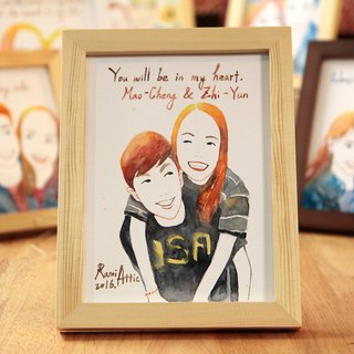 8-inch watercolor painting portrait portraits / custom / couple portrait / wedding gift (excluding box)