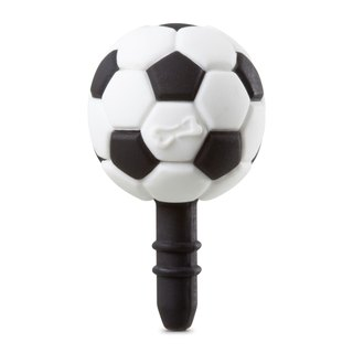 Football DIY headphone plug (black and white)
