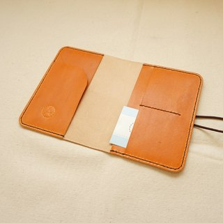 Hand dyed leather passport set notebook set - caramel orange