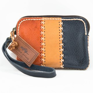 Triplet mini Bag made of vegetable tanned leather from Italy-Orange/Natural/Navy