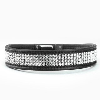 [Leather rope] S Swarovski four-row diamond leather collar ((send lettering))