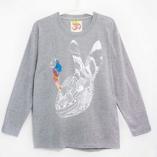 Long-sleeved shirt male version feel / Travel T - explosion rabbit (cannabis gray M)