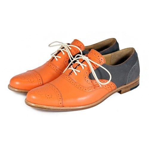 Sweet Villians M1093B 手工真皮雕花雙色牛津鞋 橘深灰