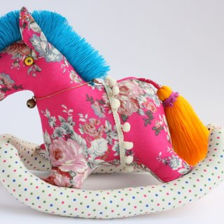 Even shook his hand-sewn Maputo / decorations (glitter red fabric) - Fabric Rocking Horse