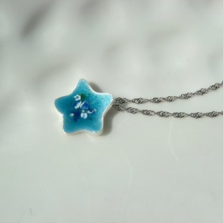 Mini Lucky Star. Multilevel Enamel Silver Necklace