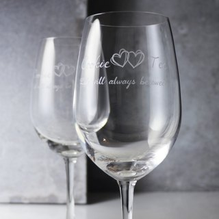 425cc (a pair of price) [MSA GLASS ENGRAVING] sweet double heart My Heart glass carved red wine glass ceremony gift Valentine's Day lettering glass wedding gift Happy Ever After customization