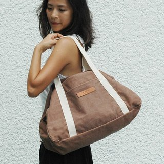 Ananda Light Bag/Boston Bag - Brown Washed Thick Canvas -