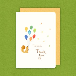 Boge stationery x watercolor hand-painted thick card [squirrel thank you card / party hat birthday card / paint brush birthday card] three designs
