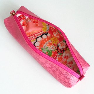 Leather pen case with Japanese Traditional pattern, Kimono
