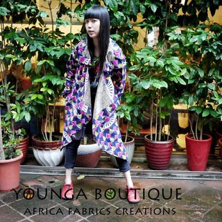Post Free Shipping! Yang Ga African fabric colorful cardigan long coat! (The last spot one)