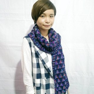 Lan wool scarves (dark blue-violet end)