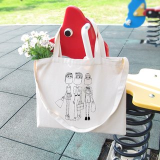Masks people illustration horizontal canvas bag