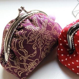 Cotton Fabric: Coin Purses, Cosmetic Bag,  Dinner bag, Purple