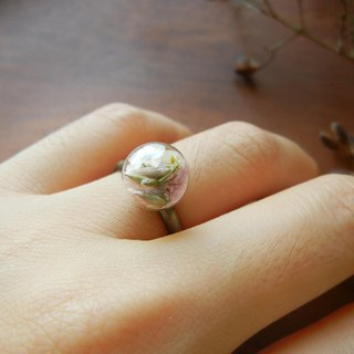 *coucoubird*Rustic Style glass ring - pink and white
