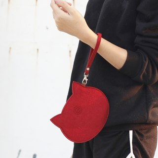 Wool felt cat carry bag Portable package / wrist strap - red cat red bean red cat