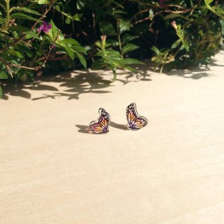 * Haku‧Neko * Colourful hand-painted butterfly earrings