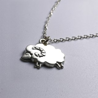 Lovely Zoo - Tiny Sheep Necklace - Custom Hand Stamped - animal necklace