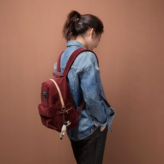 ntmy. hit color zipper washed after heavy corduroy medium shoulder bag backpack