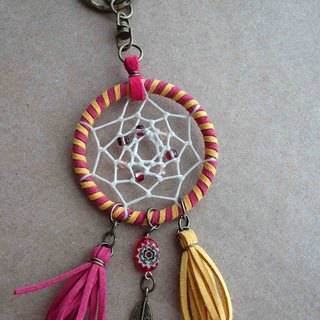 ~ M + Bear ~ Dreamcatcher Dreamcatcher (key ring / color pink yellow)