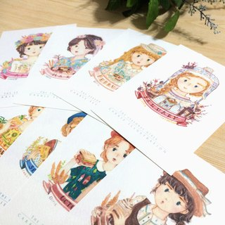 Seasonal Girls Postcard Set 12pcs