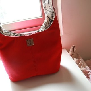 Cotton Fabric: Tote bag, Shoulder bag, Bright red Canvas