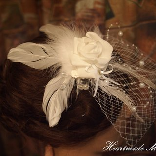 Western-style wedding bride roses feather headdress hairpin hair accessories wedding gift