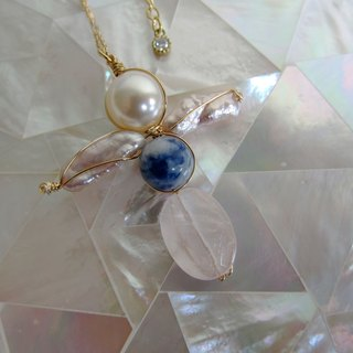 ∴Minertés = blue and white porcelain doll - soda rose quartz stone ‧ ‧ ‧ zircon pearl necklace ∴