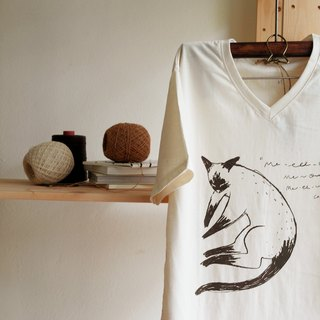 T shirt V neck cotton siamese cat hand print with brown colour