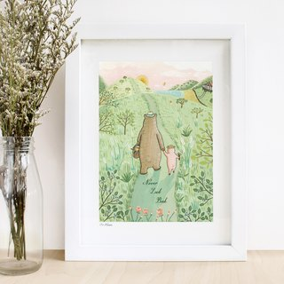"""Bear and pig series"" -never look back illustration print"