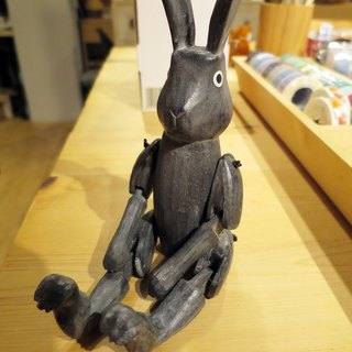 Japanese hand-carved joints can be moved cute bunny (black-medium) for office/home gift
