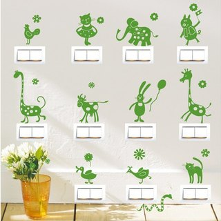 Smart Design Creative trace wall switch stickers animal stickers ◆ 8 color options
