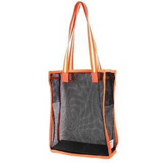 AMINAH-orange net mesh shoulder bag [am-0270]