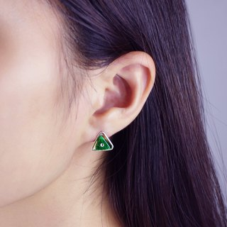 Sterling Silver Jade Triangle Earrings LENTILLE TRIANGLE