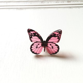 * Haku‧Neko * Black Pattern Red Hand-painted Butterfly Brooch