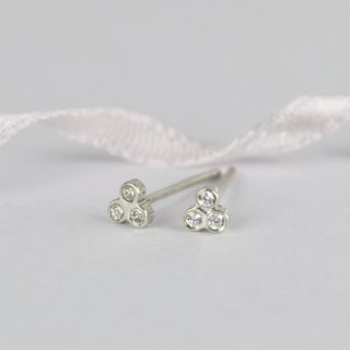 Clover Earrings 925 Sterling Silver CZ Diamond