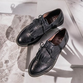 e cho play fun England tassel wear two Oxford shoes ec22 wild black