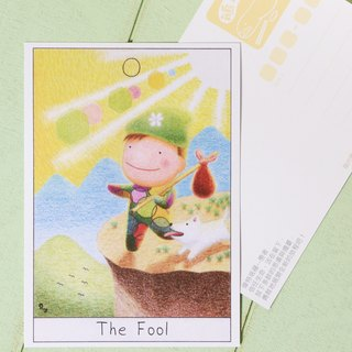 Flatgoose illustration postcard - The fool tarot card