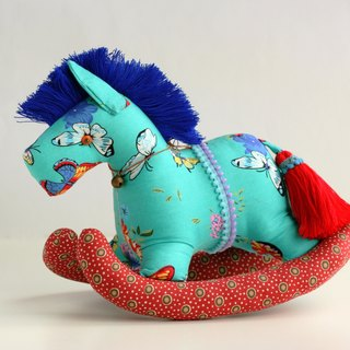Even shook his hand-sewn Maputo / decorations (Turkey blue cloth / blue red mane) - Fabric Rocking Horse
