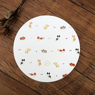 Bazaar // water-absorbing ceramic coaster // cat's free afternoon - white (cat)