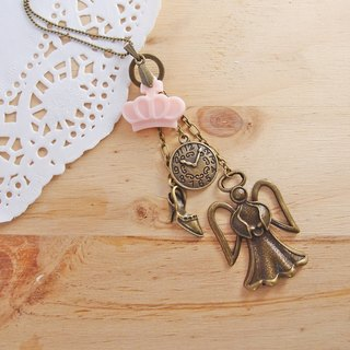 ◎ Cinderella fairy tale princess crown x x x glass slipper fairy clock x x bronze shape long necklace