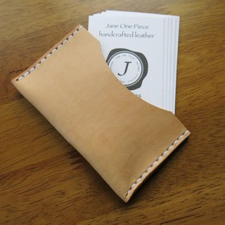 Portable light business card holder original color vegetable tanned leather. Hand-stitched [Jane One Piece]
