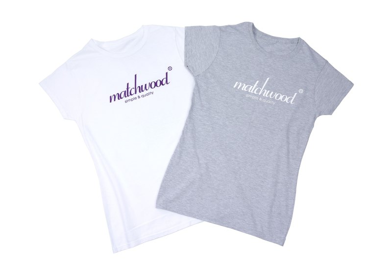 Matchwood Design Matchwood 2015 limited edition commemorative classic LogoTee American high comfort roller short T 100% cotton female version of gray