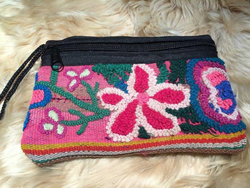 小花多彩立體刺繡 方包